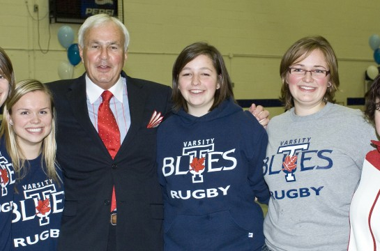 Chancellor Peterson with Varsity Rugby Players
